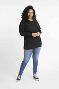MS Mode ribgebreide sweater met glitters zwart, Zwart
