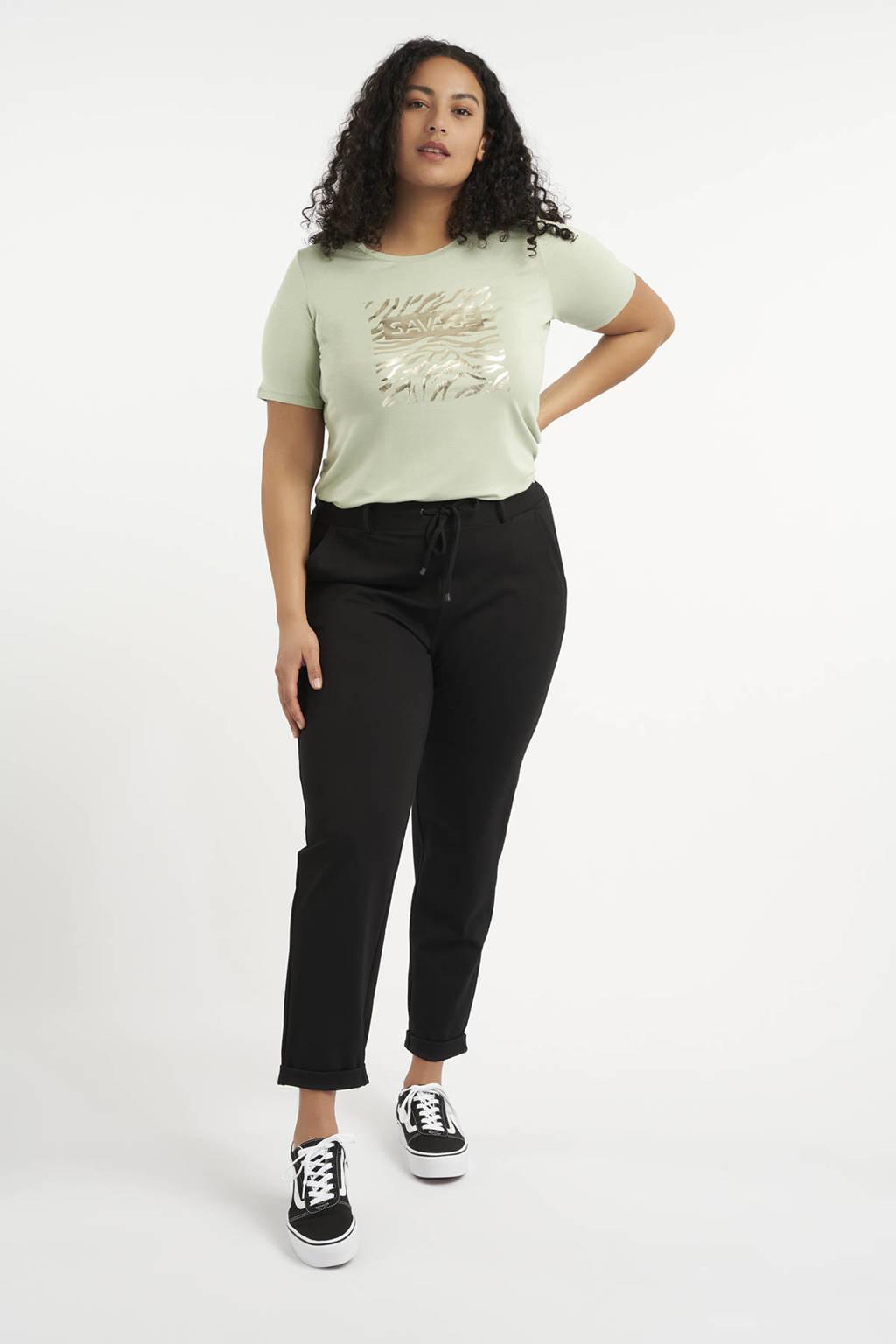 MS Mode slim fit broek zwart, Zwart