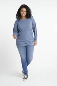 MS Mode ribgebreide sweater met glitters blauw, Blauw