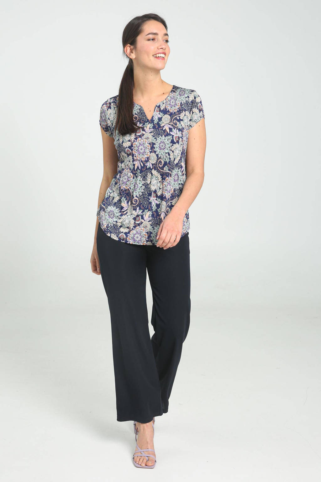 Cassis top met all over print donkerblauw, Donkerblauw
