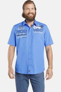 Jan Vanderstorm loose fit overhemd MARLI  Plus Size met printopdruk blauw, Blauw