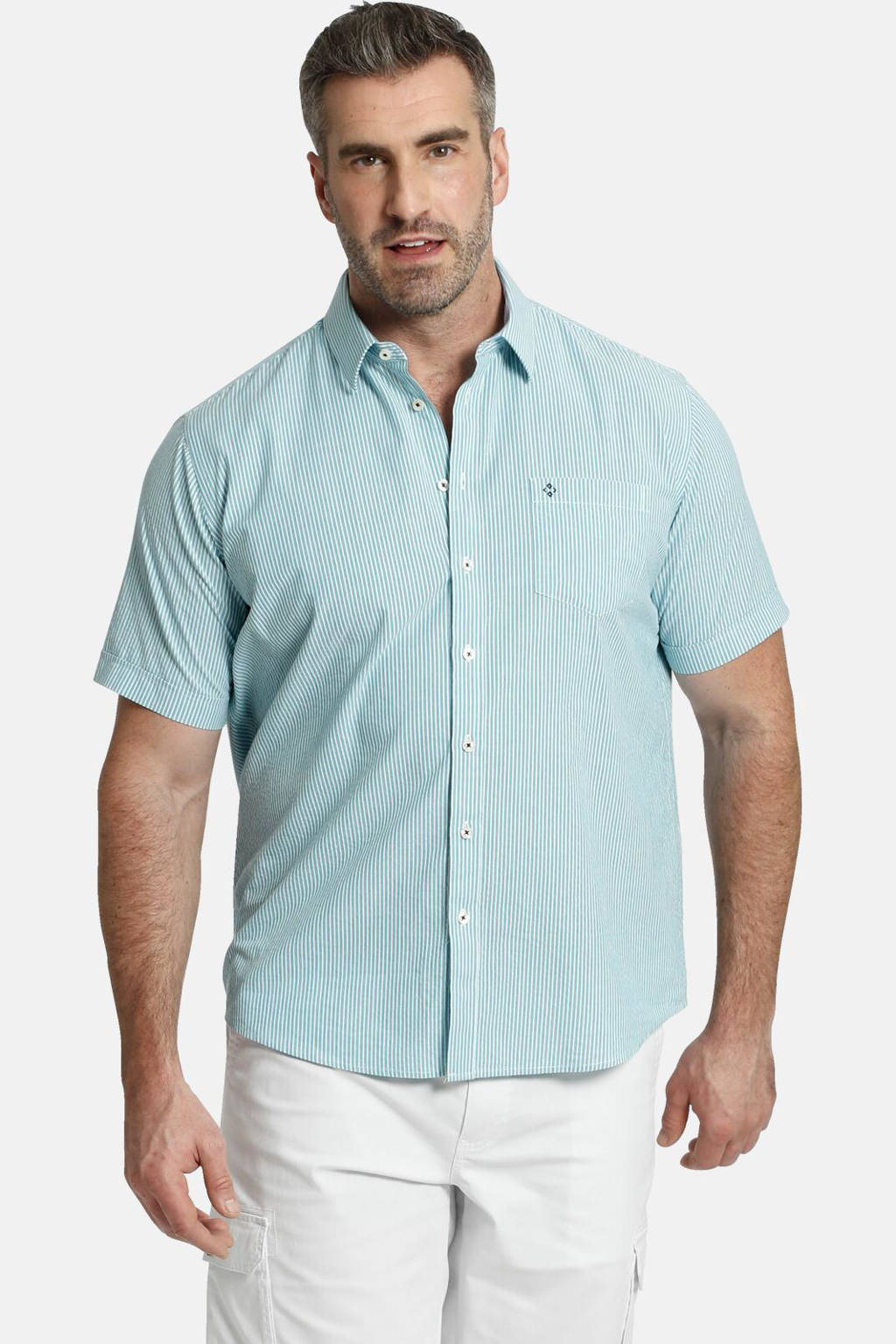 Charles Colby gestreept loose fit overhemd DUKE XERUS Plus Size turquoise, Turquoise