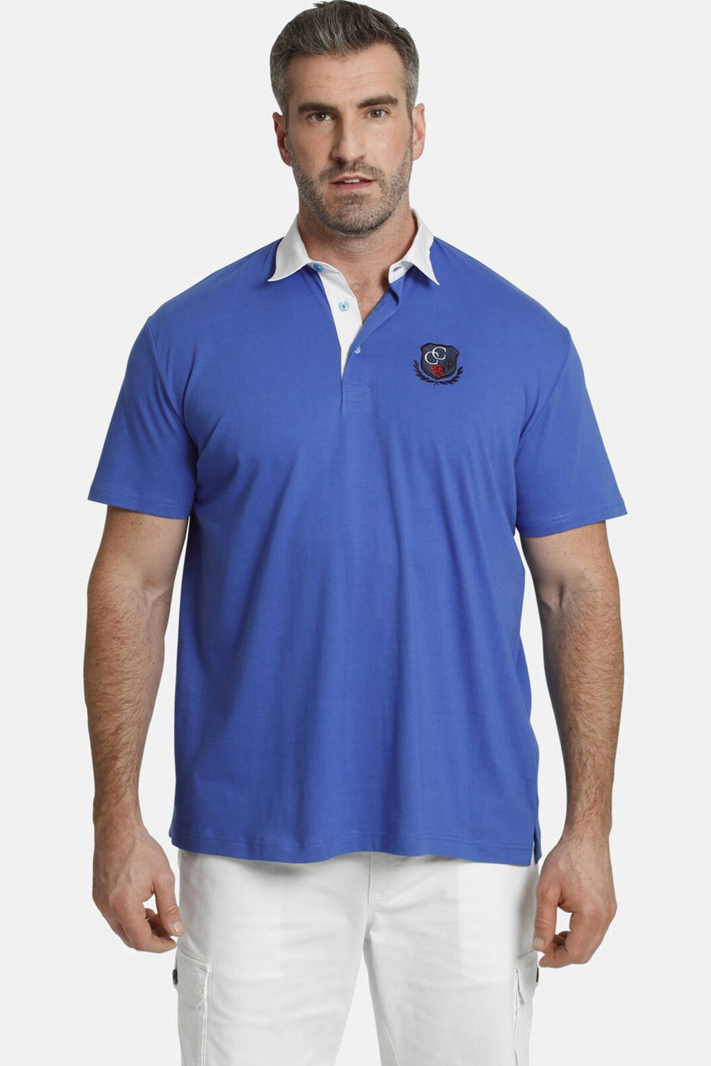 Charles Colby loose fit  polo EARL MAYWARD Plus Size met contrastbies blauw, Blauw