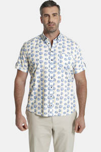Charles Colby loose fit overhemd DUKE COMBALL Plus Size met all over print geel/blauw, Geel/blauw