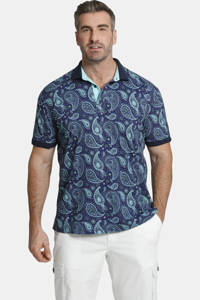 Charles Colby loose fit polo EARL SUITBERT Plus Size met paisleyprint blauw, Blauw