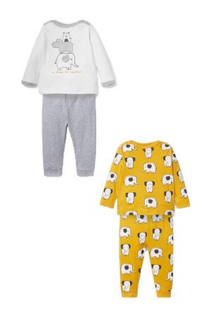 pyjama - set van 2 geel/grijs/wit