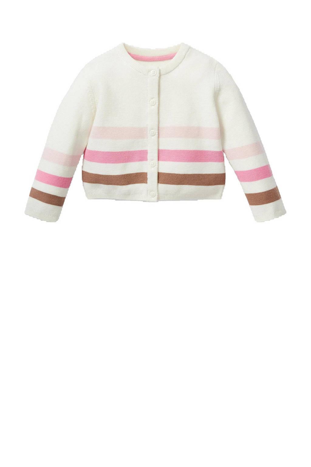 C&A Baby Club baby gestreept vest van biologisch katoen ecru/roze/bruin, Ecru/roze/bruin