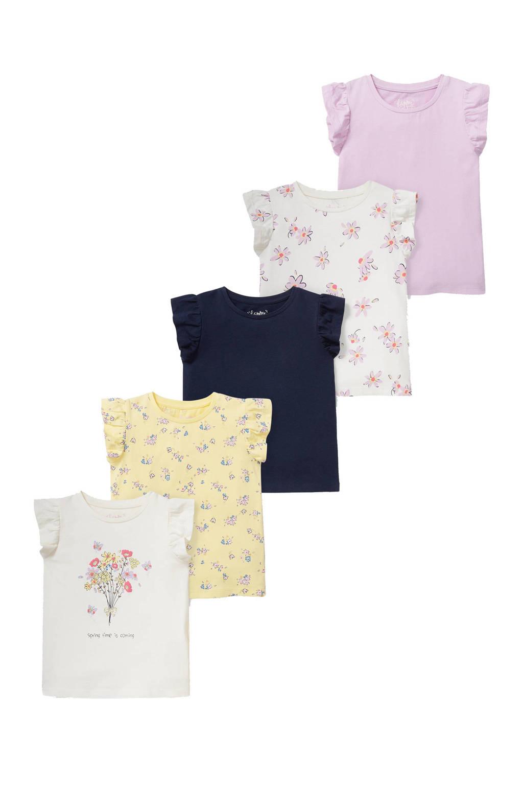 C&A Happy girls Club T-shirt - set van 5 roze/blauw/geel/ecru, ecru/roze/blauw/geel