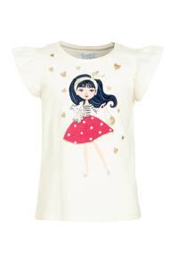 C&A Happy girls Club T-shirt met ruches - set van 3 koraalrood/grijs/ecru, Koraalrood/grijs/ecru
