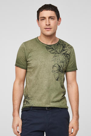 gebloemd T-shirt olijfgroen