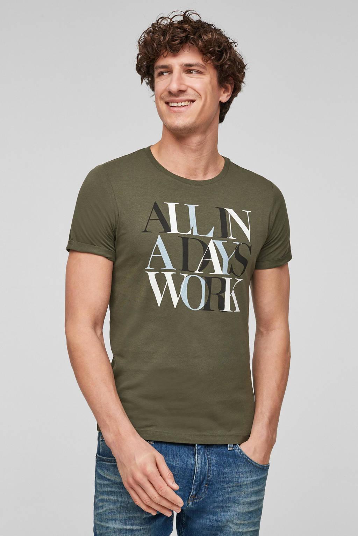 s.Oliver T-shirt met printopdruk donkergroen, Donkergroen