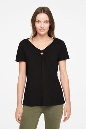 T-shirt met open detail zwart