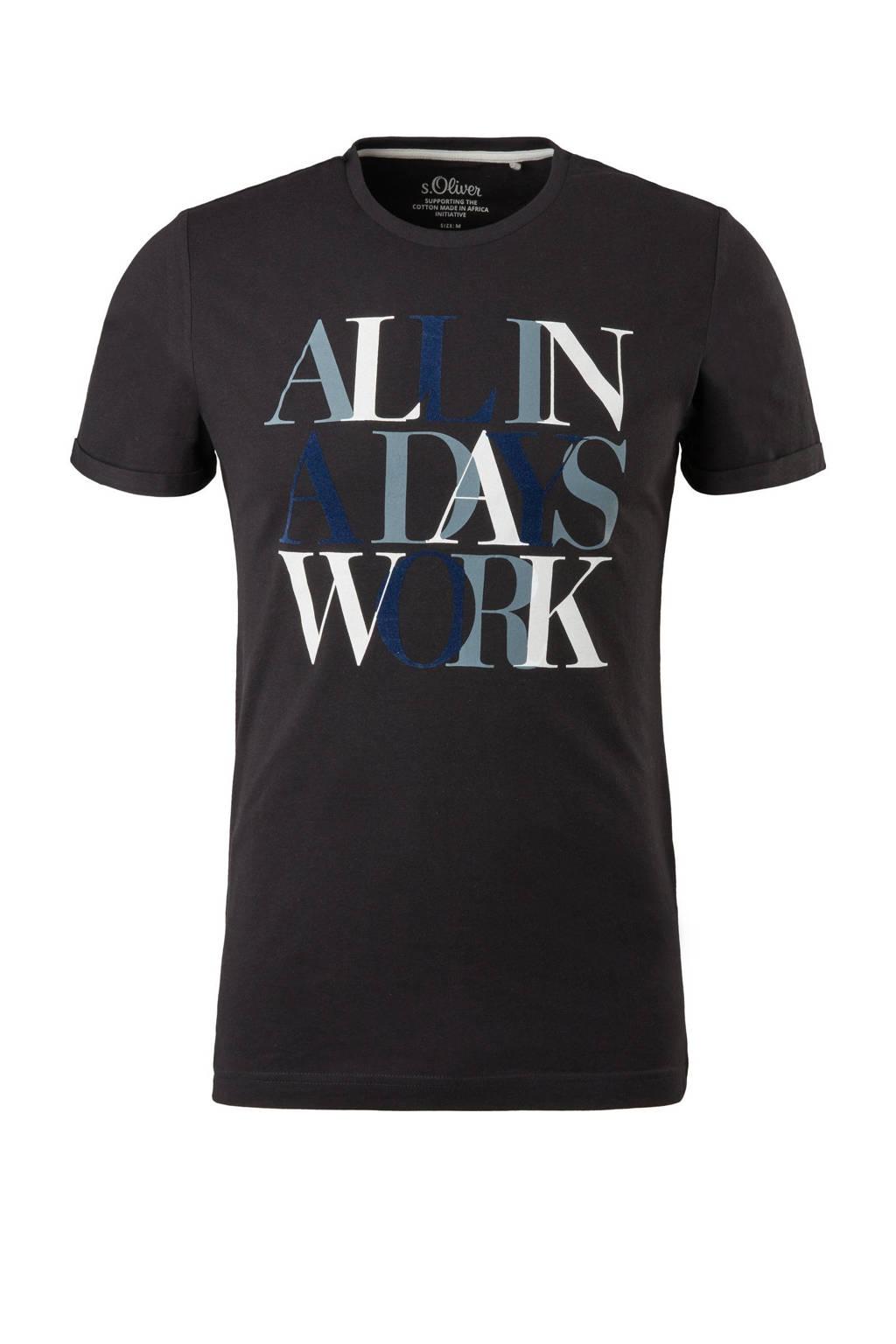 s.Oliver T-shirt met printopdruk zwart, Zwart