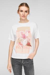 Q/S designed by fijngebreid T-shirt met printopdruk wit, Wit