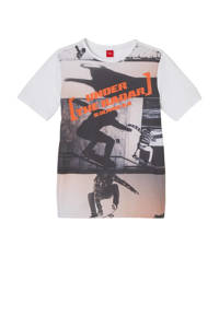 s.Oliver T-shirt met printopdruk wit/zwart/oranje, Wit/zwart/oranje