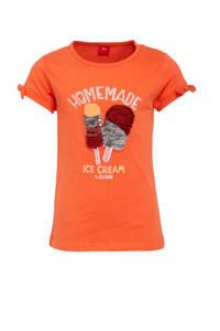 s.Oliver T-shirt met printopdruk en ruches rood, Rood