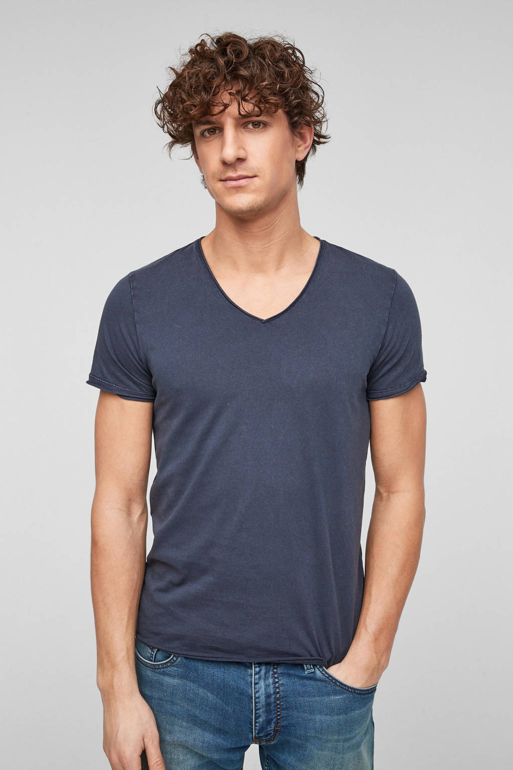 Q/S designed by slim fit T-shirt donkerblauw, Donkerblauw
