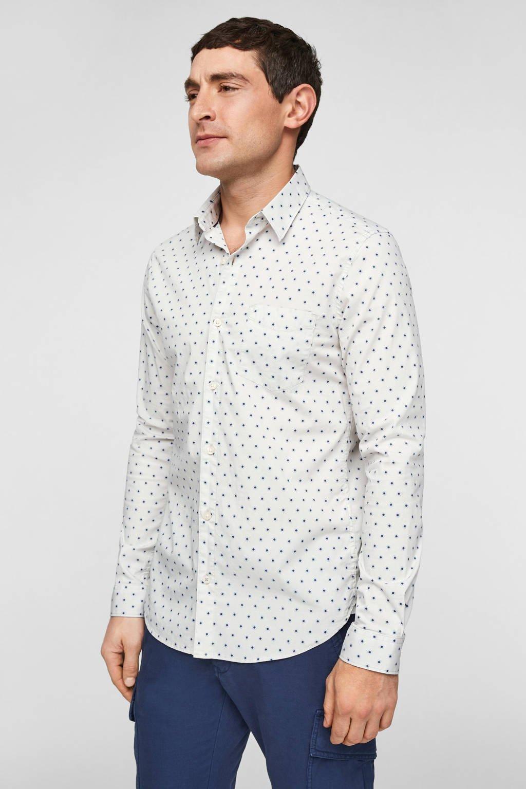 s.Oliver slim fit overhemd met all over print ecru, Ecru