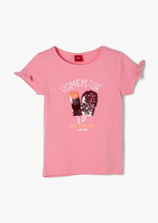s.Oliver T-shirt met printopdruk en ruches roze, Roze