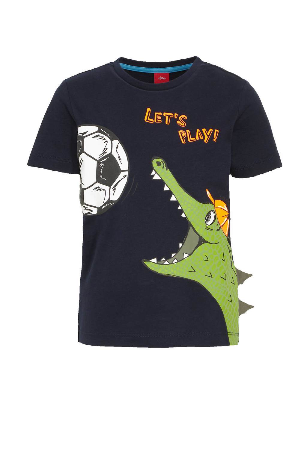 s.Oliver T-shirt met dierenprint donkerblauw/groen, Donkerblauw/groen