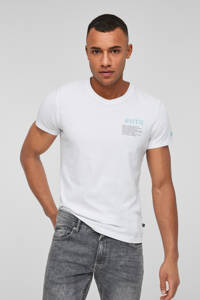 Q/S designed by T-shirt met tekst wit, Wit