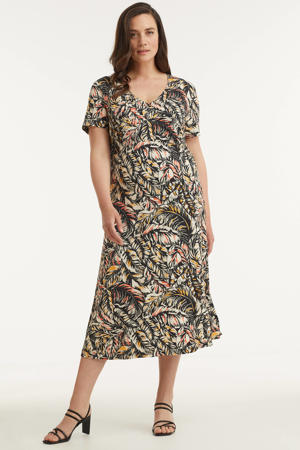 wikkel-look jurk met all-over print multi
