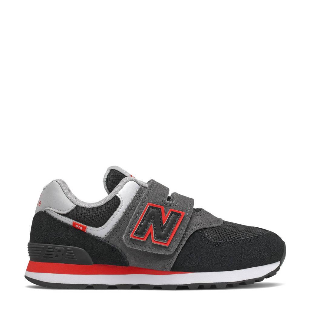New Balance 574  sneakers zwart/grijs/rood, Zwart/grijs/rood