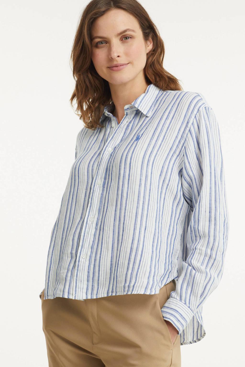 POLO Ralph Lauren gestreepte blouse lichtblauw/wit, Lichtblauw/wit