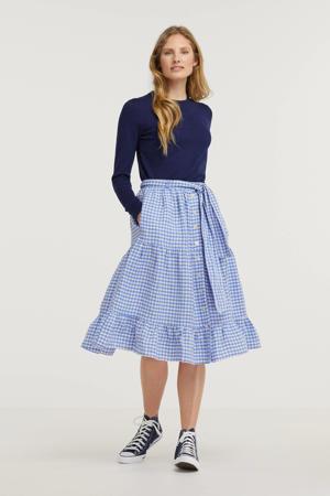 geruite rok blauw/wit