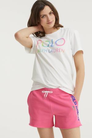 short met logo roze