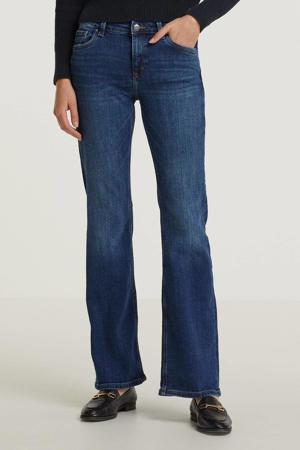 flared jeans met biologisch katoen dark blue denim