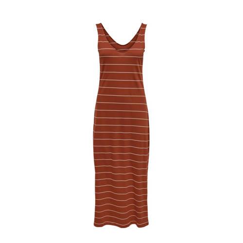 ONLY gestreepte maxi jurk ONLMAY rood