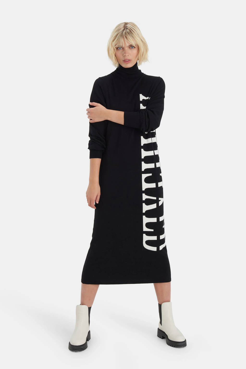 Shoeby Eksept gebreide jurk Kate met tekst zwart/wit, Zwart/wit