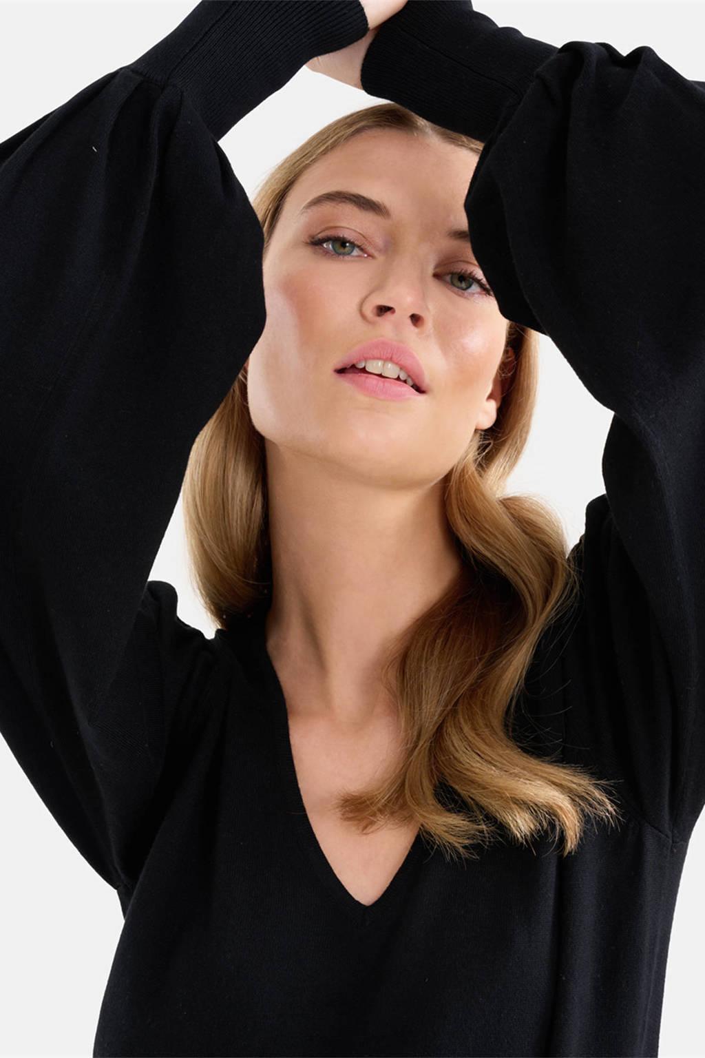 Shoeby Eksept gebreide trui Kyra Knit met plooien zwart, Zwart