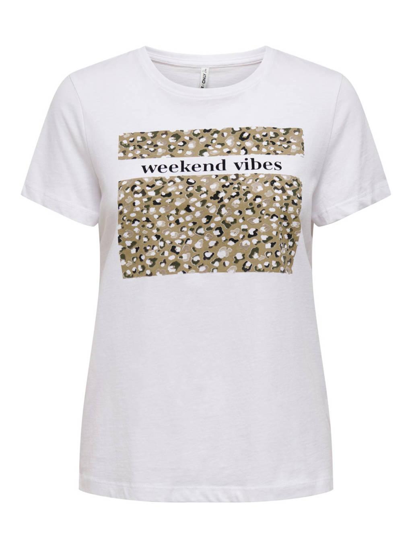 ONLY T-shirt met printopdruk wit, Wit