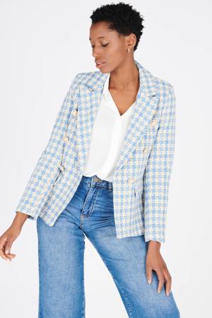 tweed blazer met pied-de-poule lichtblauw/beige