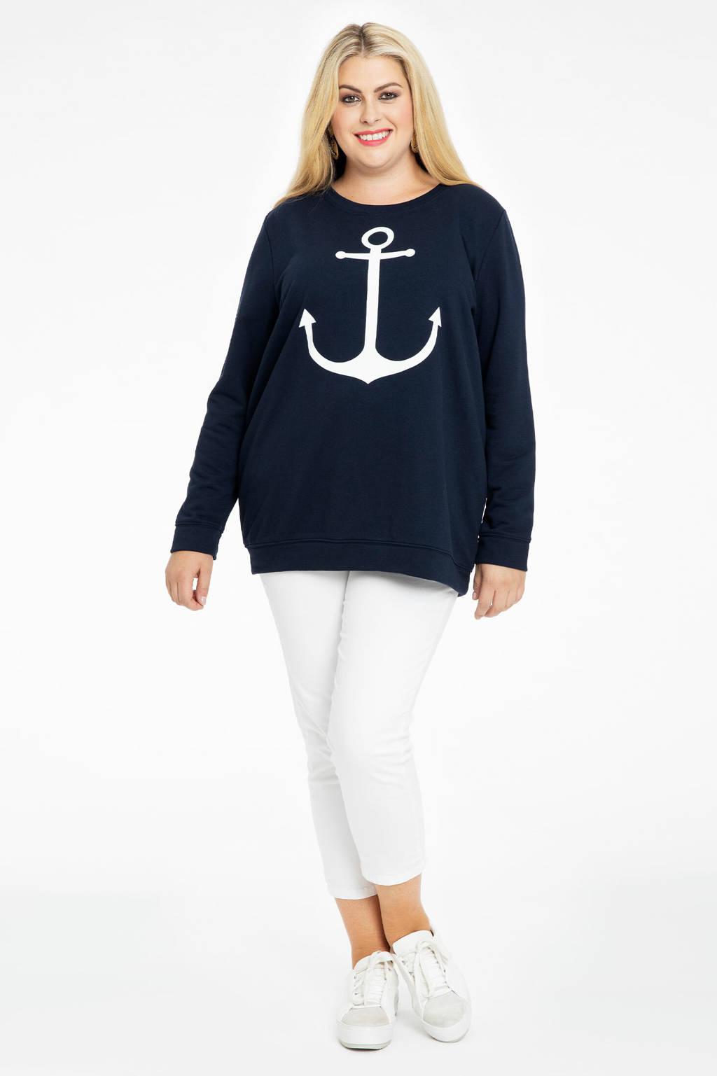 Yoek sweater met printopdruk donkerblauw/wit, Donkerblauw/wit