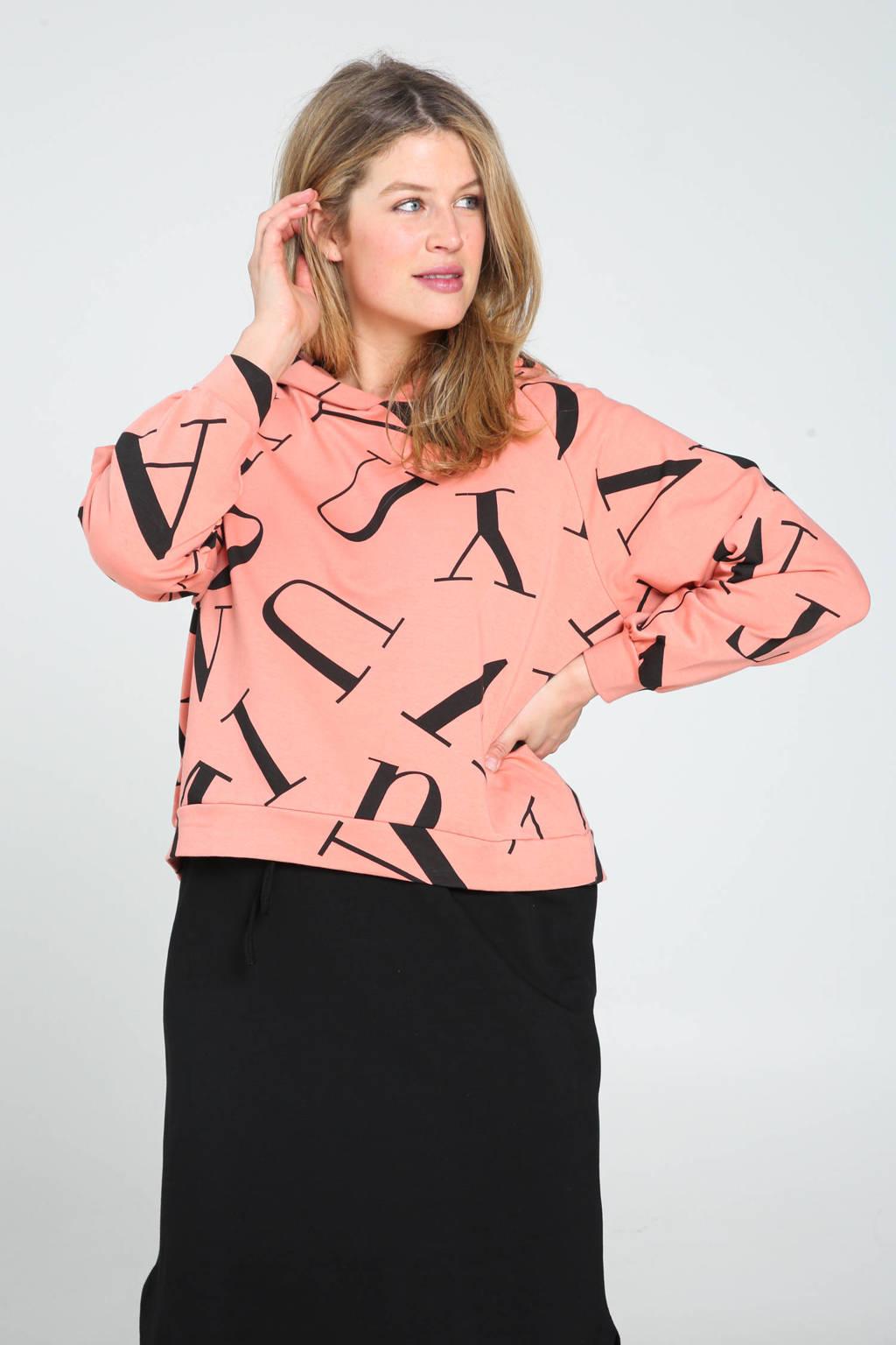 Paprika hoodie met all over print koraalrood/zwart, Koraalrood/zwart
