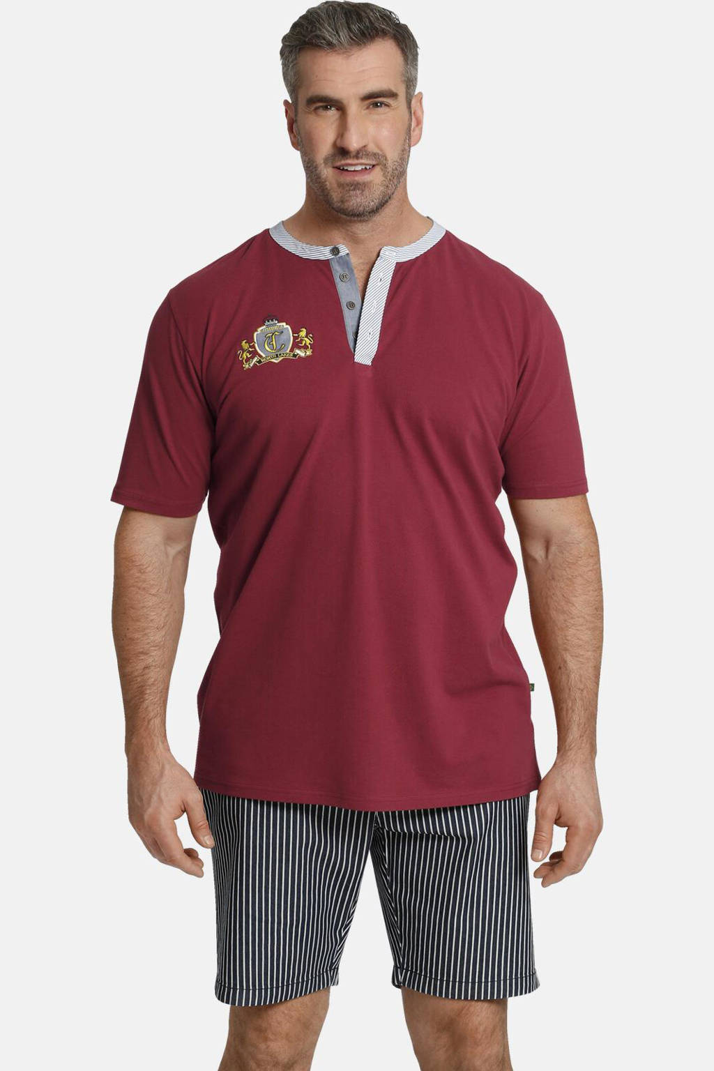 Charles Colby T-shirt Earl Tebbe Plus Size met contrastbies donkerrood, Donkerrood