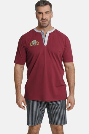 T-shirt Earl Tebbe Plus Size met contrastbies donkerrood