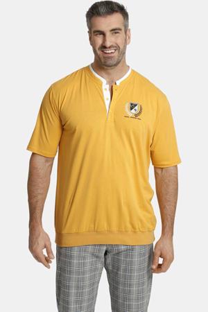 T-shirt Earl Taerell Plus Size met contrastbies geel