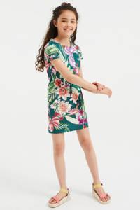 WE Fashion gebloemde jurk groen/roze/paars, Groen/roze/paars