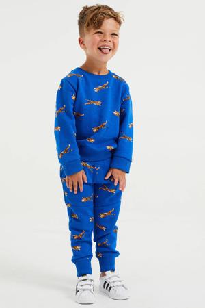 joggingbroek met sweater met all over print hardblauw