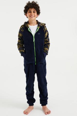 regular fit onesie van fleece donkerblauw