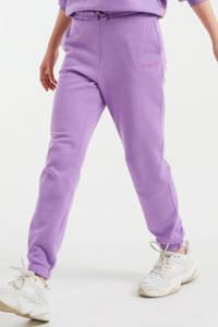 WE Fashion straight fit joggingbroek met tekst paars, Paars
