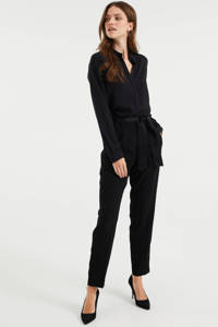 WE Fashion high waist tapered fit pantalon zwart, Zwart