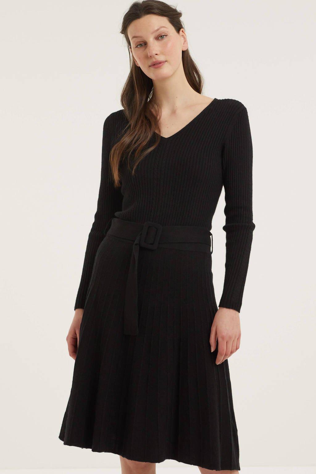 C&A YESSICA PREMIUM gebreide A-lijn jurk met ceintuur zwart, Zwart