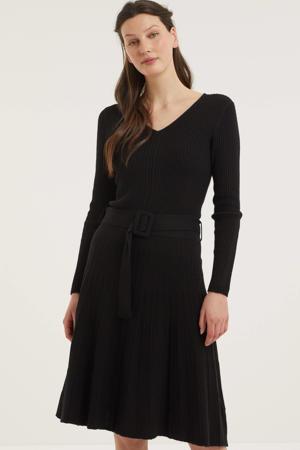 gebreide A-lijn jurk met ceintuur zwart