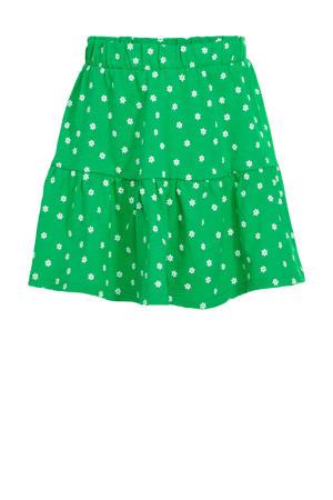 gebloemde rok van biologisch katoen groen/wit
