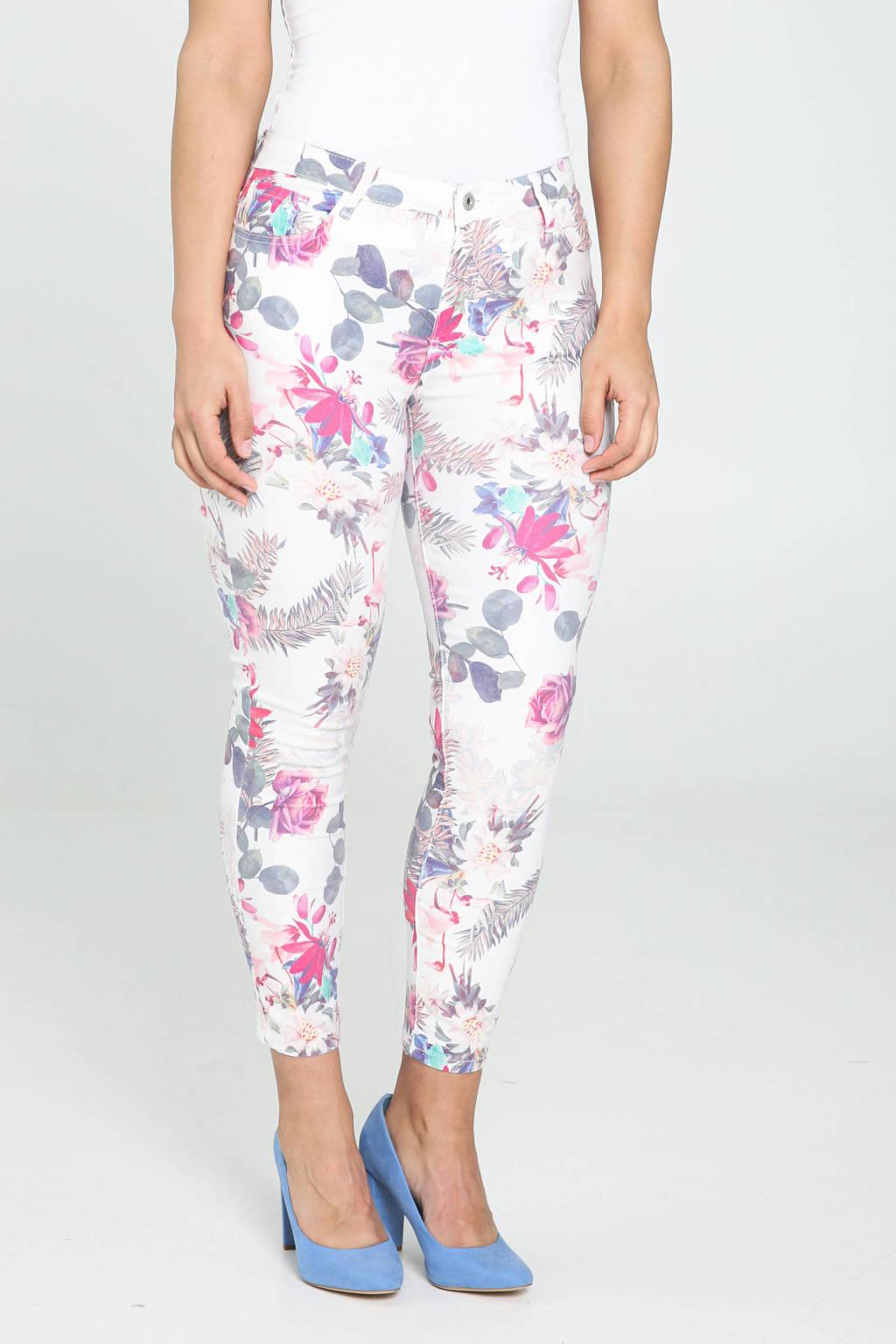 Cassis gebloemde cropped skinny broek ecru/roze/blauw, Ecru/roze/blauw